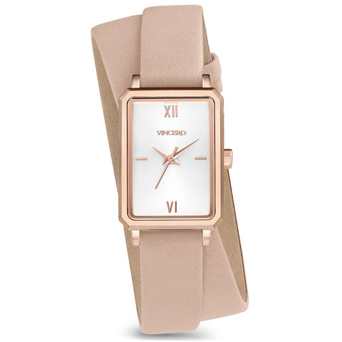 Vincero Women's Ava Petite Quartz Rose Gold Watch | Pale Pink Leather 2X Strap