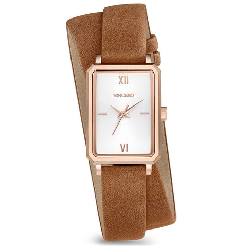 Vincero Women's Ava Petite Quartz Rose Gold Watch | Saddle Leather 2X Strap