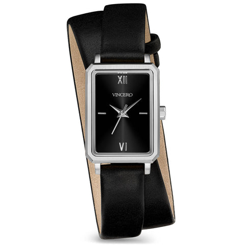 Vincero Women's Ava Petite Quartz Silver Watch | Jet Black Leather 2X Strap