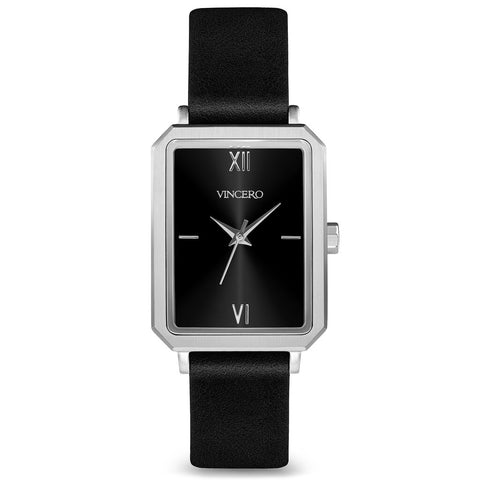 Vincero Women's Ava Quartz Silver Watch | Jet Black Leather Strap Bla-SiBL-F09