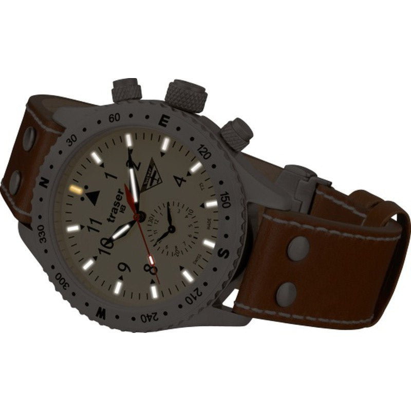 traser H3 Aviator Jungmeister Watch | Leather Strap 100190