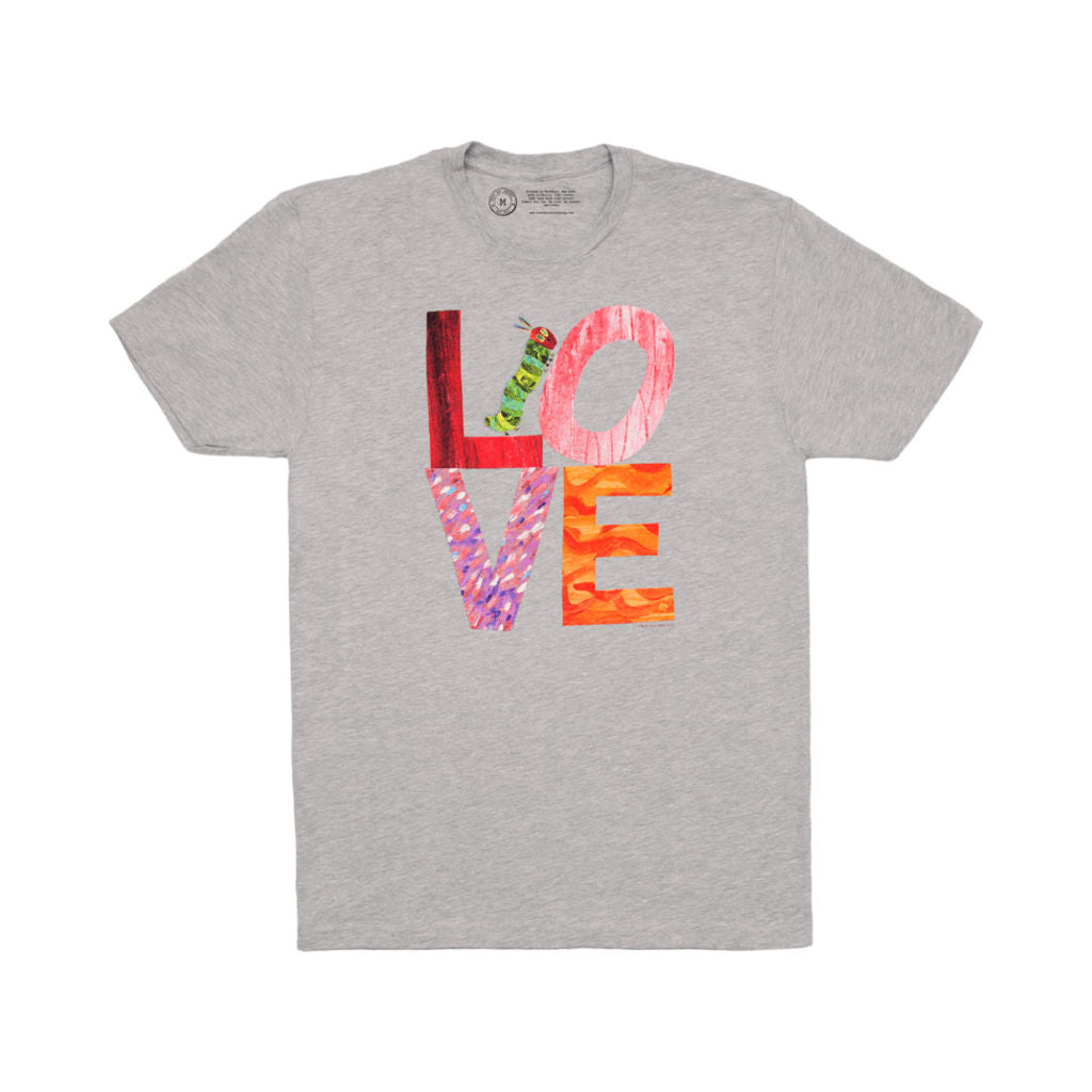 Out of Print The Very Hungry Caterpillar Love Men's T-Shirt | Gray Medium B-1207