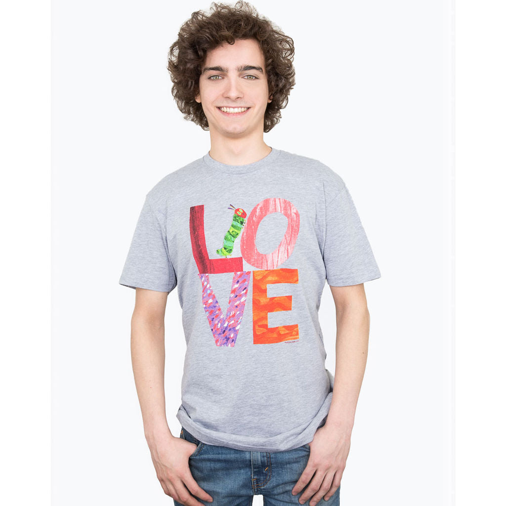 Out of Print The Very Hungry Caterpillar Love Men's T-Shirt | Gray Small B-1207