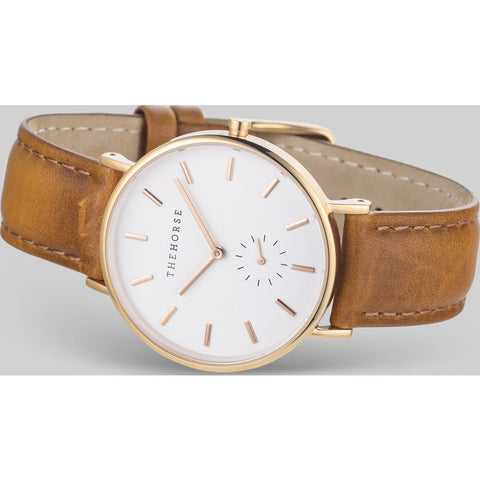 The Horse Classic Rose Gold Watch | White/Tan -B11