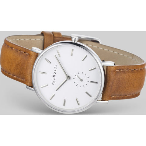 The Horse Classic Steel Watch | White Dial/Tan-B12