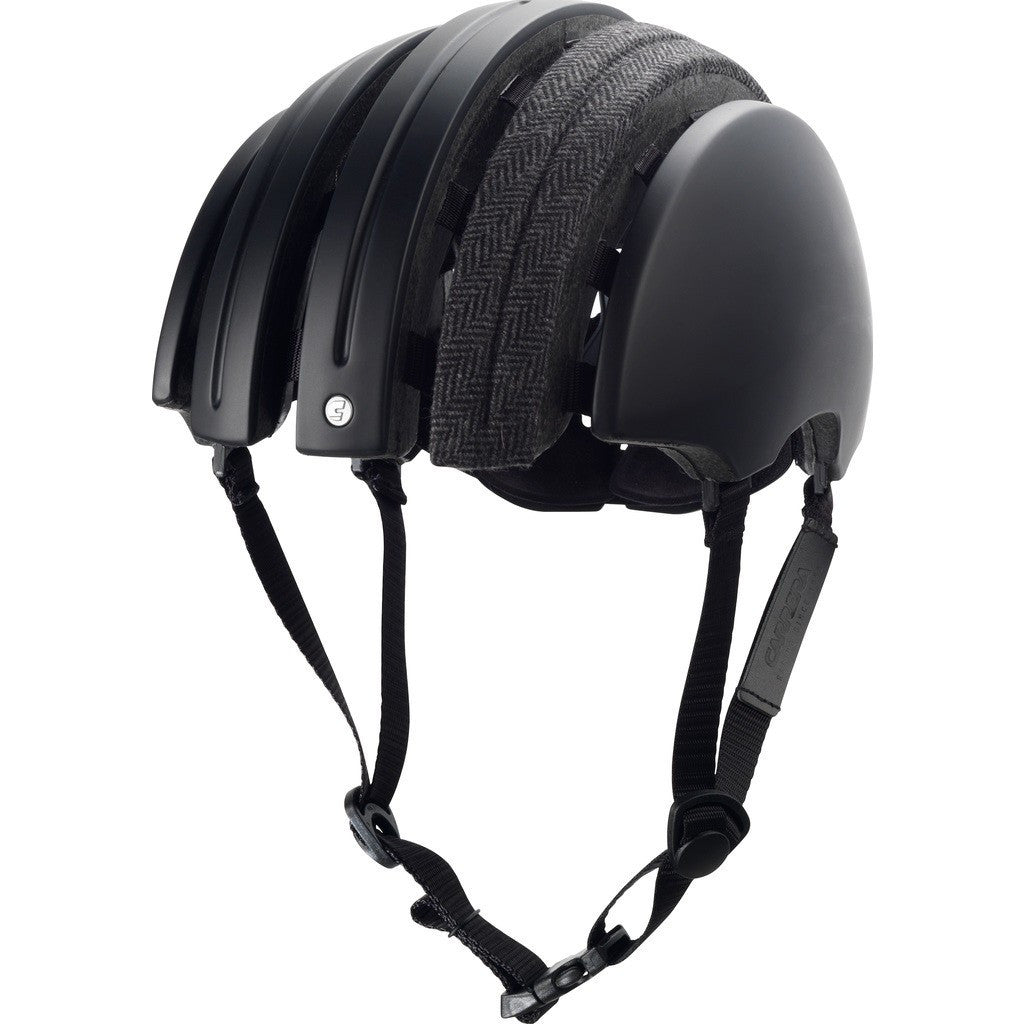 Brooks England x Carrera Foldable Helmet w/ Cover | Black/Grey Herringbone M