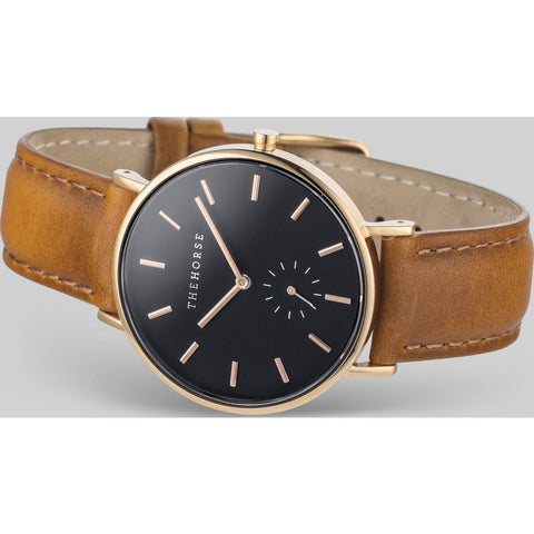 The Horse Classic Rose Gold Watch | Black/Tan - B8