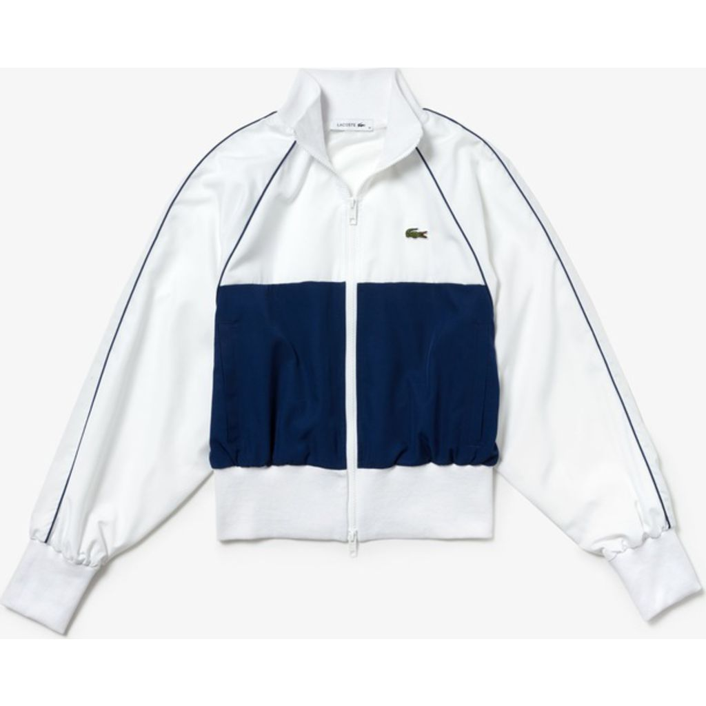bb2a0d6708 Lacoste Women's Color Block Nylon Bomber Jacket | White/Navy Blue