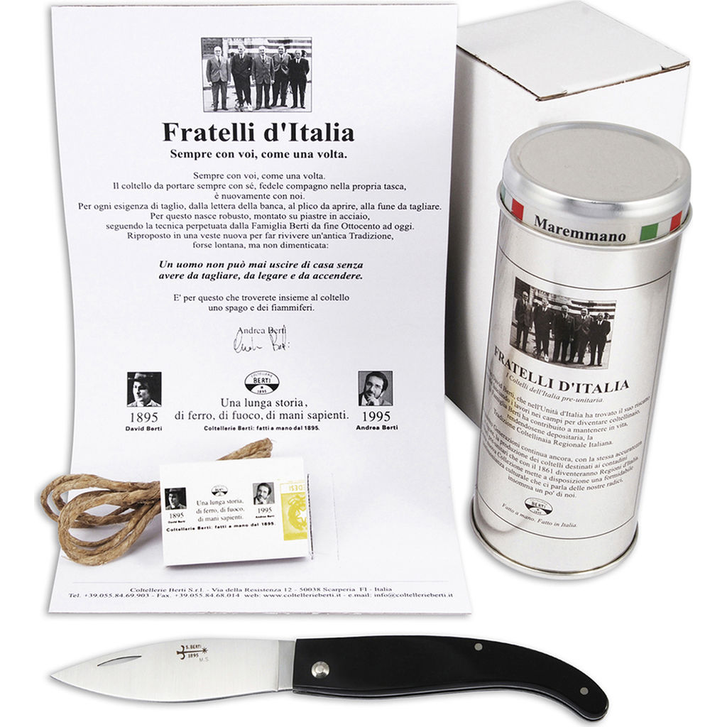 Coltellerie Berti Maremmano A Foglia Fratelli Pocket Knife | Black Lucite Handle