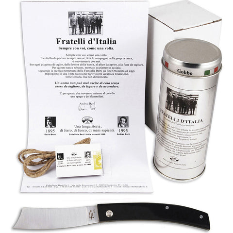 Coltellerie Berti Rasolino Fratelli D'Italia Pocket Knife | Black Lucite Handle