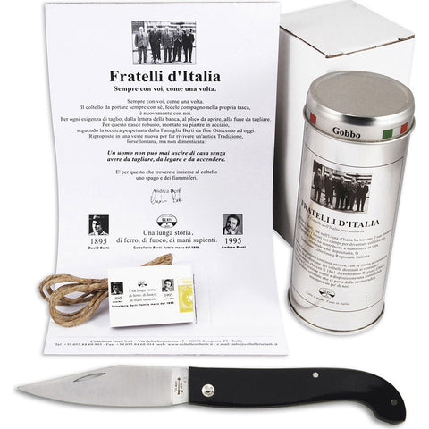 Coltellerie Berti Maremmano Fratelli D'Italia Pocket Knife | Black Lucite Handle