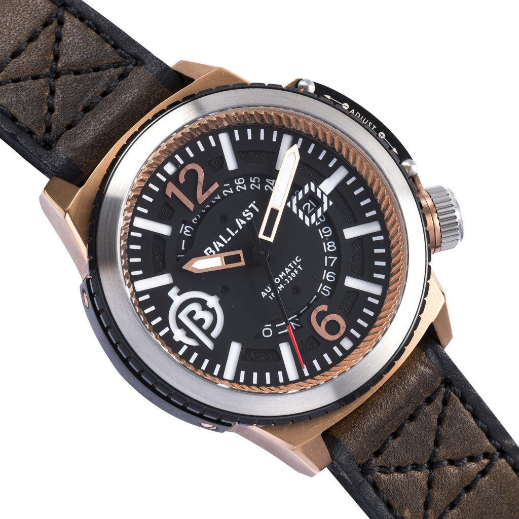 Ballast Trafalgar Stainless Steel Automatic Watch | Rose Gold/Dark Brown BL-3133-02
