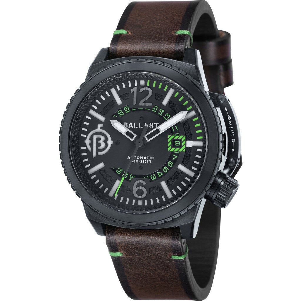 Ballast Trafalgar Stainless Steel Automatic Watch | Black/Dark Brown BL-3133-06