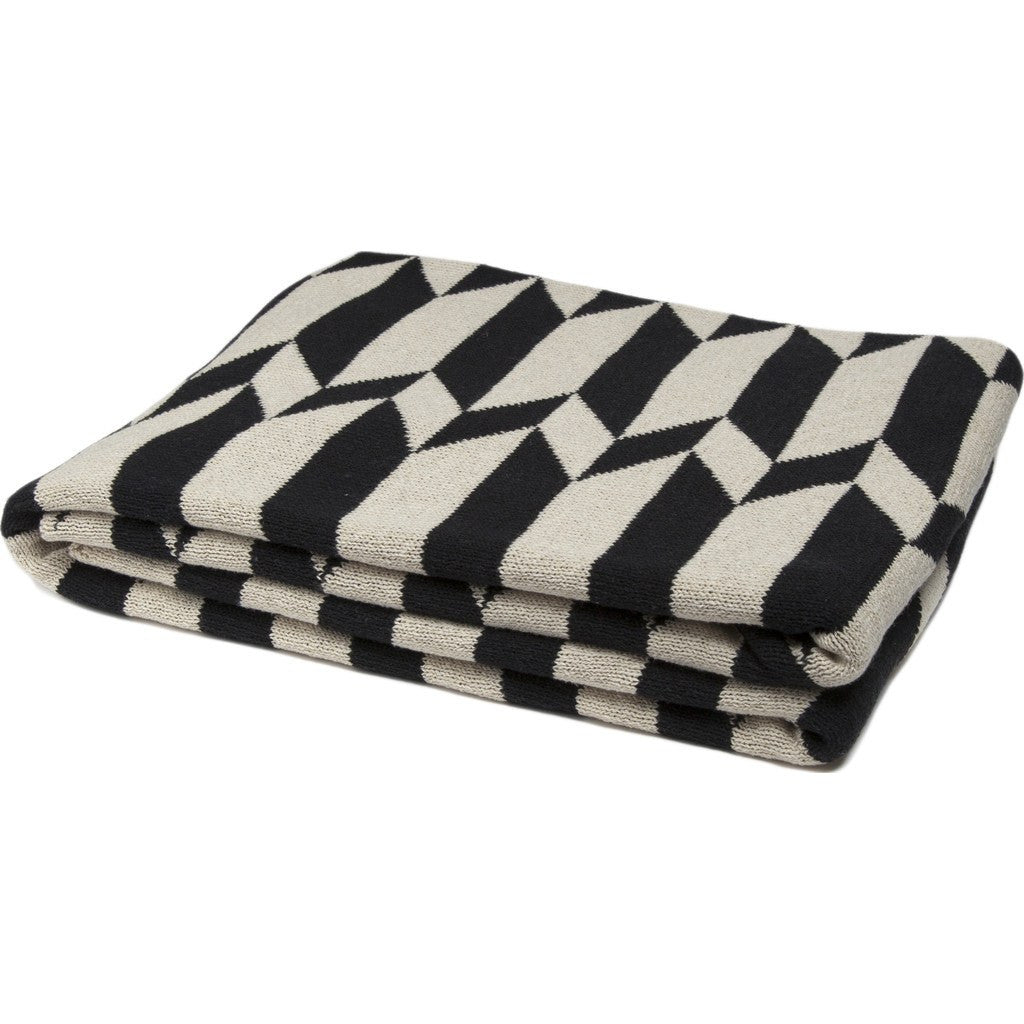 in2green Chevron Stripe Reversible Eco Throw | Flax/Black BL02RCS2