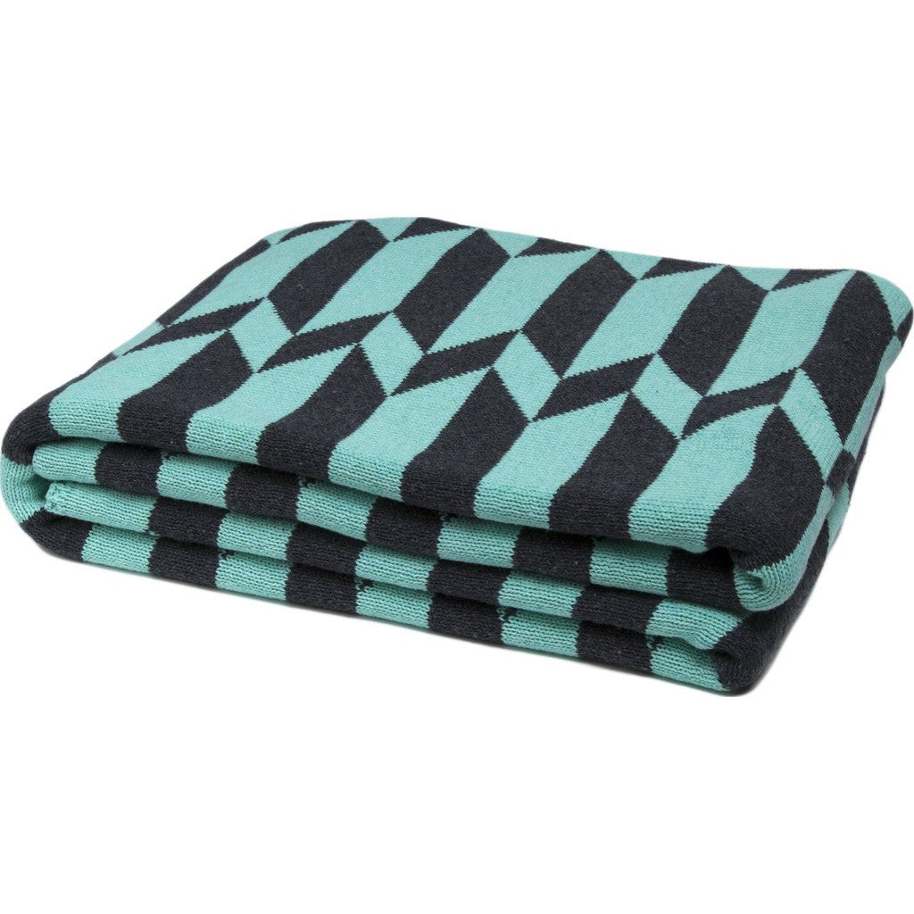 in2green Chevron Stripe Reversible Eco Throw | Seafoam/Charcoal BL02RCS7