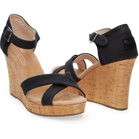 TOMS Strappy Wedges | Black Canvas Cork