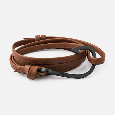 Miansai Black Hook on Leather Bracelet | Brown 100-0008-006