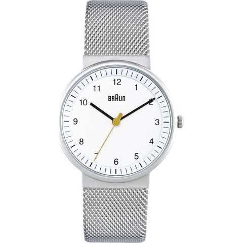 Braun BN0031 White Classic Women's Watch | Steel Mesh BN0031WHSLMHL