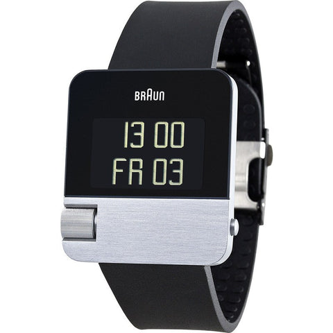 Braun BN0106 Silver Prestige Digital Men's Watch | Rubber BN0106SLBKG