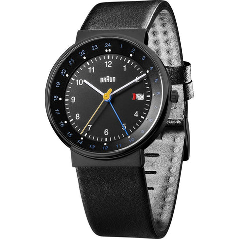 Braun BN0142 Black World Timer Analog Men's Watch | Leather BN0142BKBKG