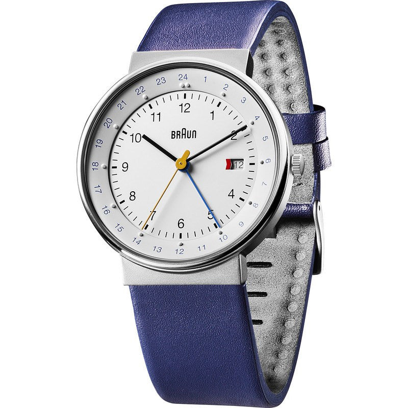 Braun BN0142 White World Timer Analog Men's Wacth | Blue Leather BN0142WHBLG