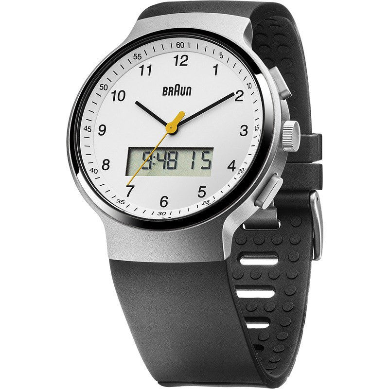 Braun BN0159 White Ani-Digi Chronograph Men's Watch | Rubber BN0159WHBKG