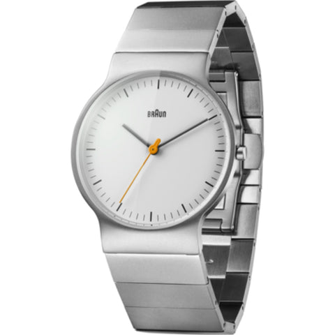 Braun 0211 White Classic Slim Analog Women's Watch | Matte Sterling Silver