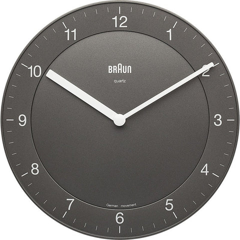 Braun Classic Analog Wall Clock | Grey BNC006-GY