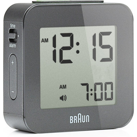 Braun Digital LCD Alarm Clock | Grey BNC008GY
