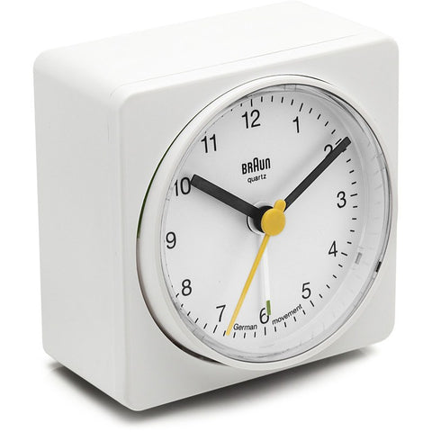 Braun Analog Square Alarm Clock | White BNC011WH