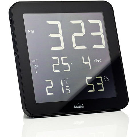 Braun Temperature/Humidity Wall Clock | Black BNC014-RC-BK
