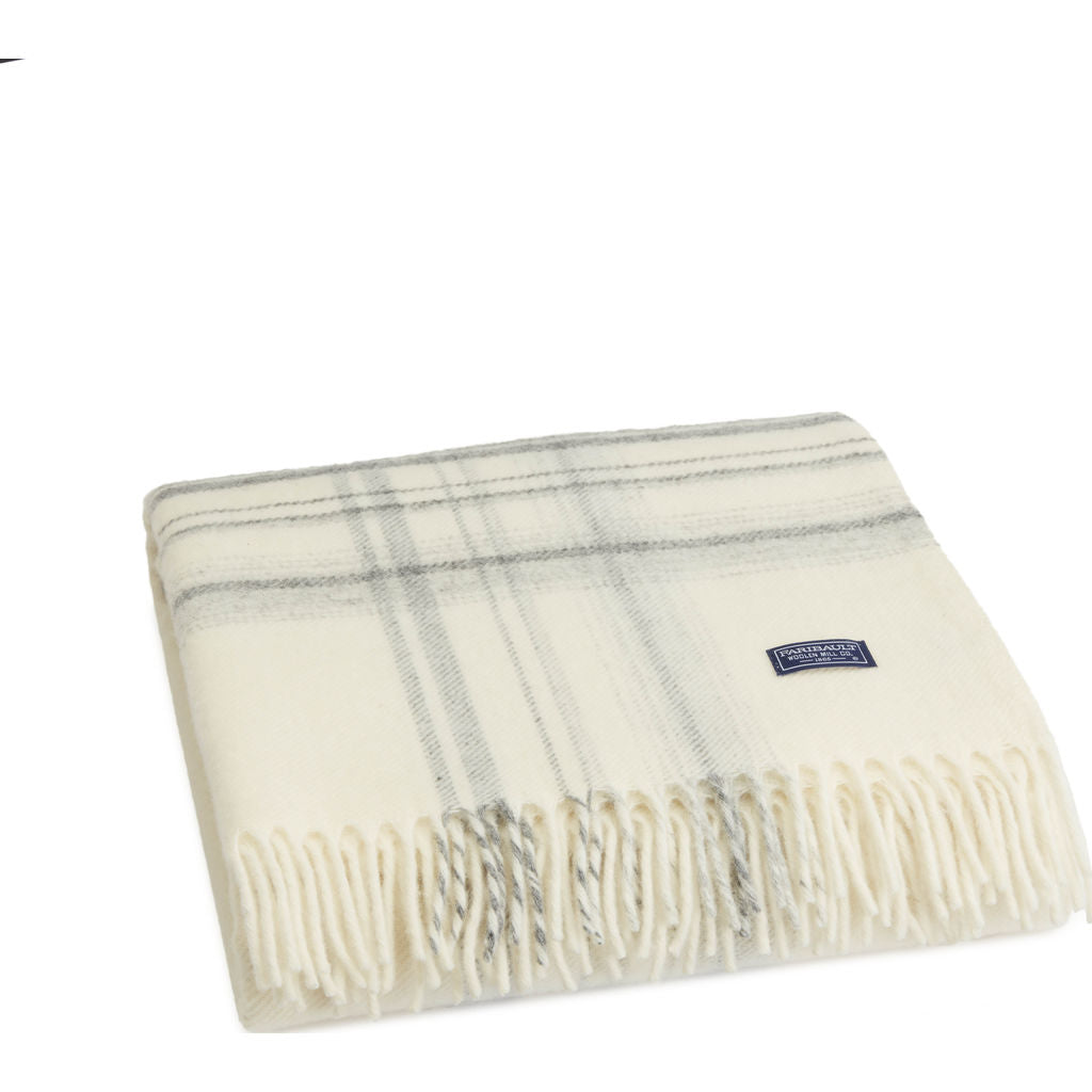 Faribault Border Plaid Throw | Natural Smoke BTBPNA1925