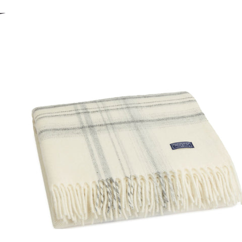 Faribault Border Plaid Throw | Navy Gray BTBPNV1933