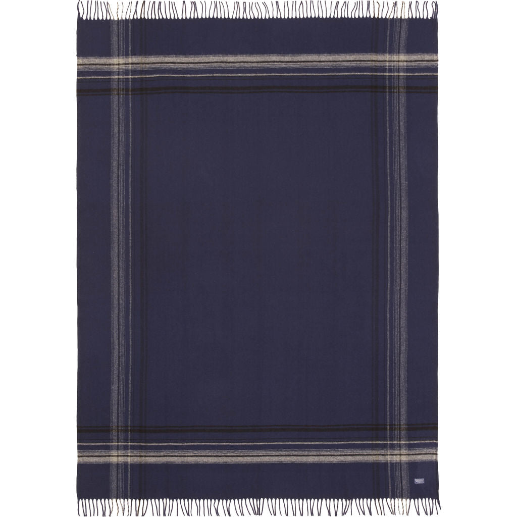 Faribault Border Plaid Throw | Navy Gray BTBPNV1932