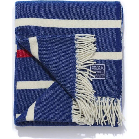 Faribault Nisswa Stripe Wool Throw | Admiral Blue