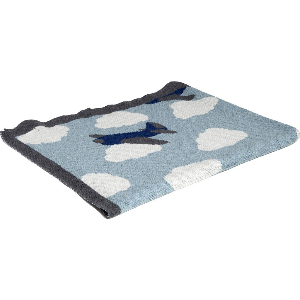 in2green Baby Airplane Eco Throw | Blue Pond/Milk/Cobalt BB02PL1