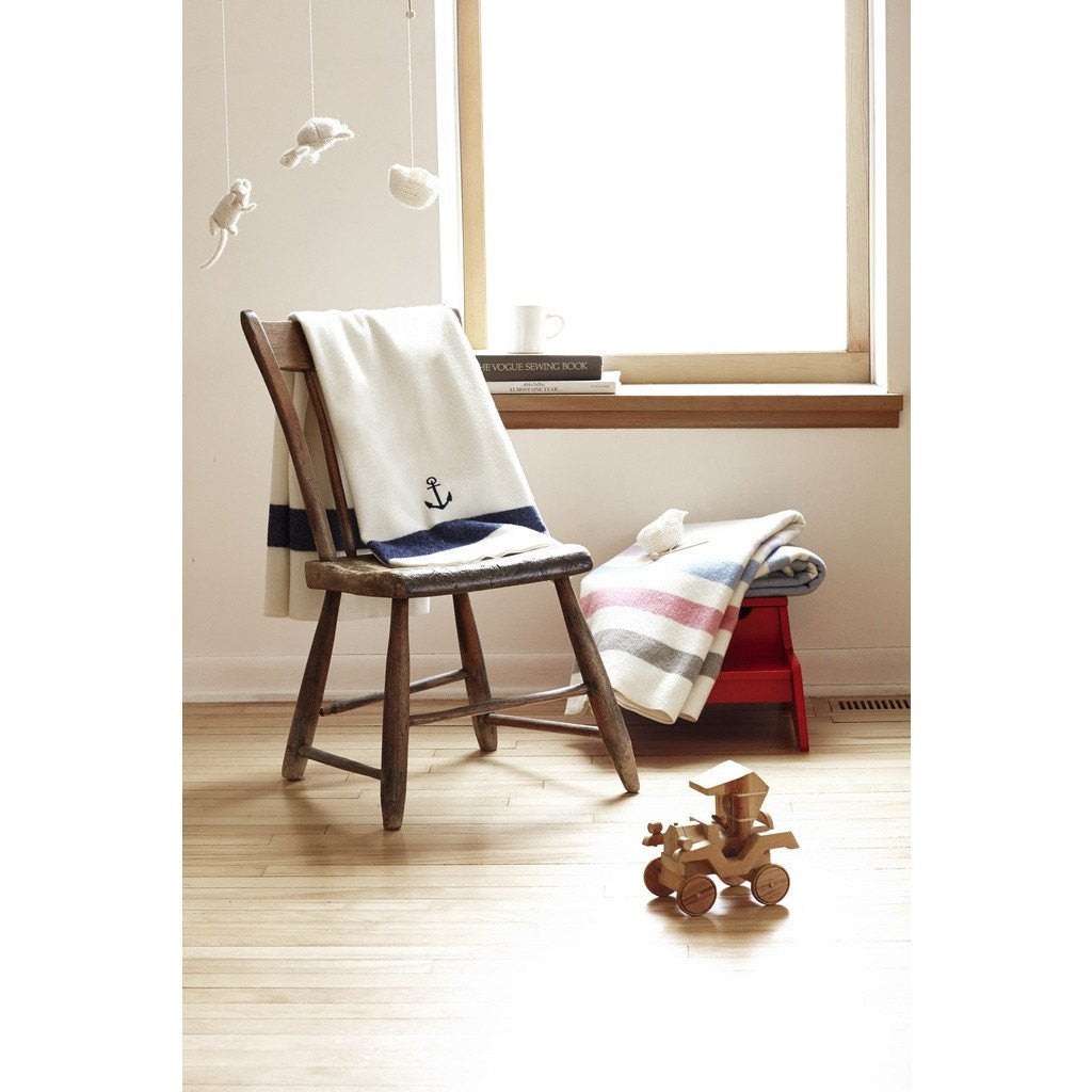 Faribault Baby Anchor Wool Blanket | Cream/Navy 8878 Baby 45x45