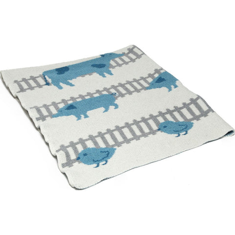 in2green Baby Farm Animals Eco Throw | Aqua BB02FA2