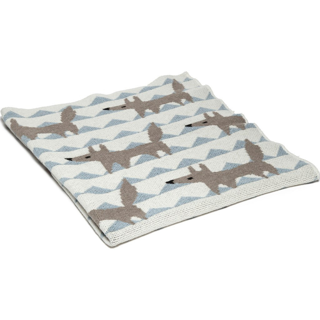 in2green Baby Fox Eco Throw | Blue BB02FX1