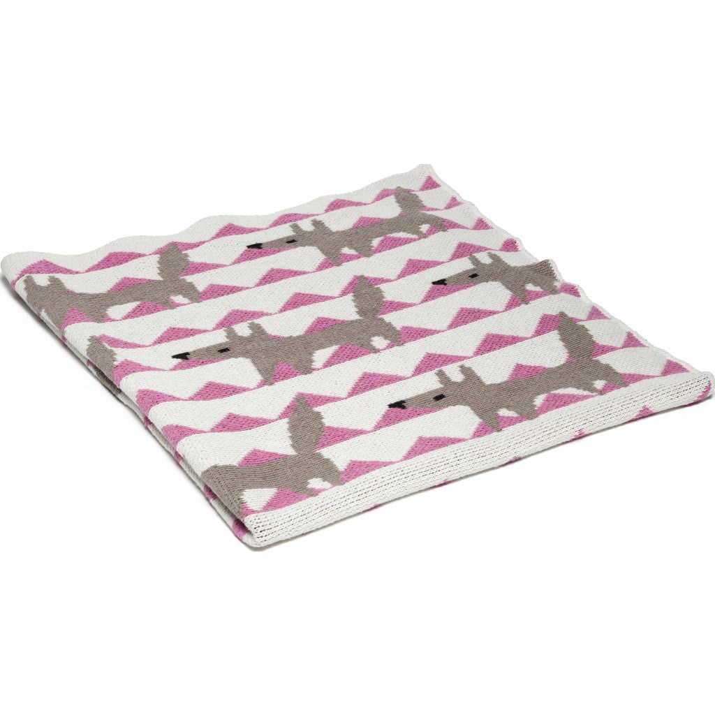 in2green Baby Fox Eco Throw | Pink BB02FX2