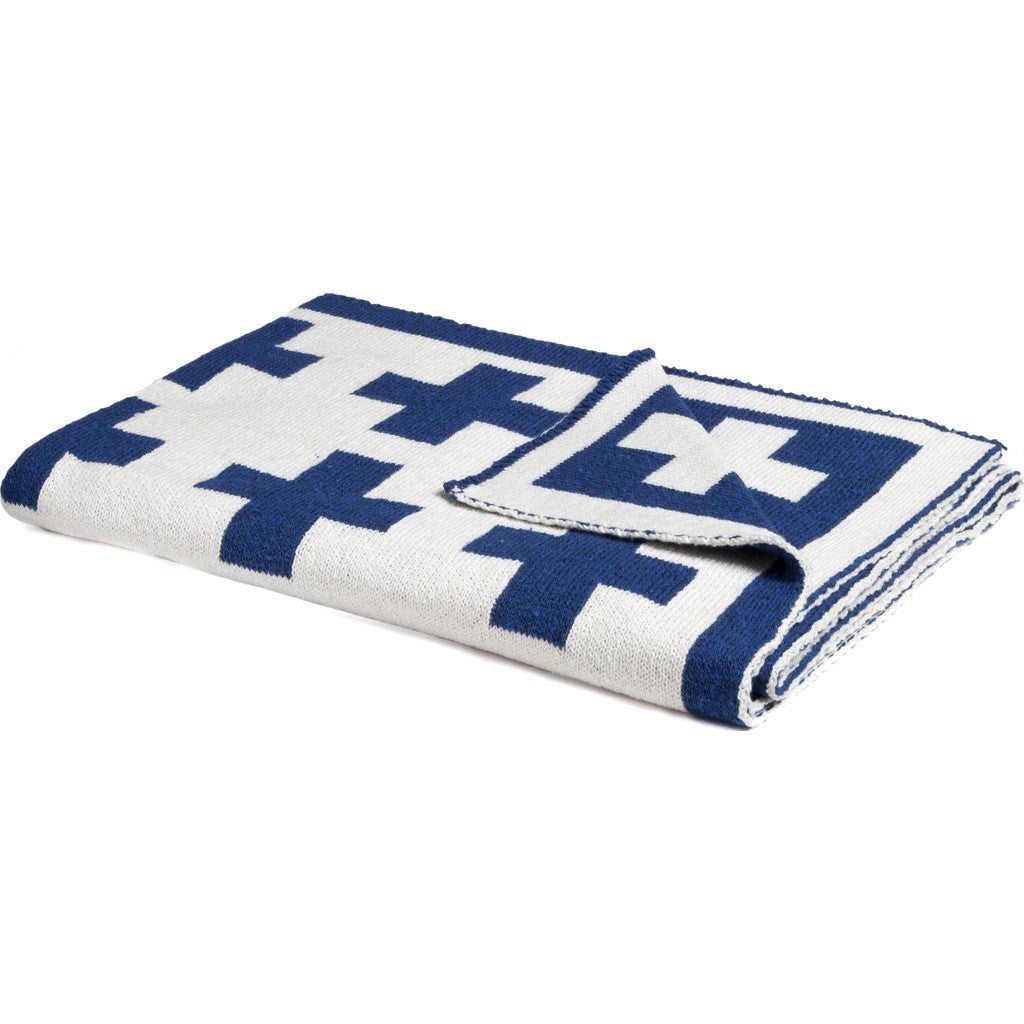 in2green Baby Swiss Cross Reversible Eco Throw | Cobalt/Milk BB02RSWC3