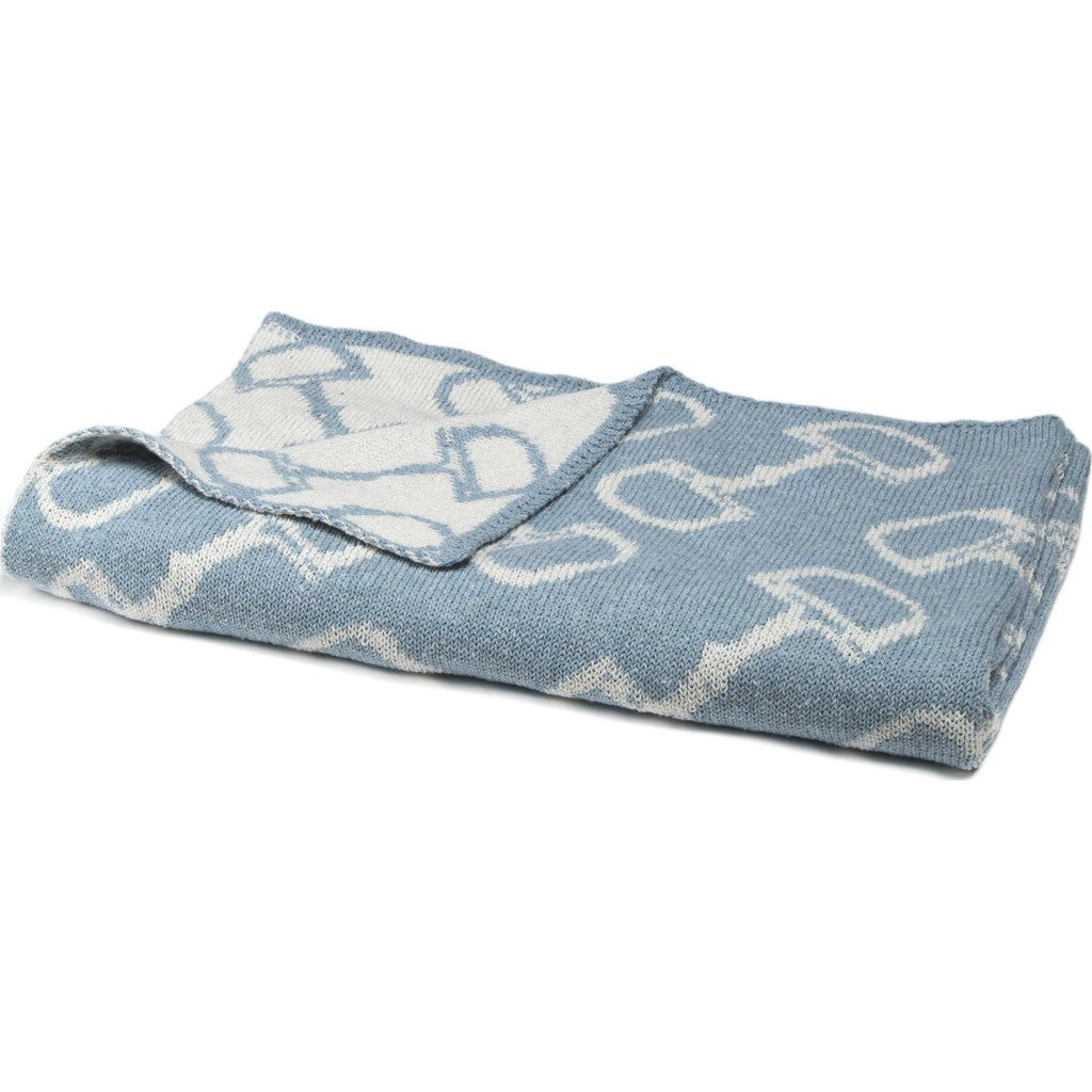 in2green Baby Horse Bits Reversible Eco Throw | Blue Pond BB02HB2