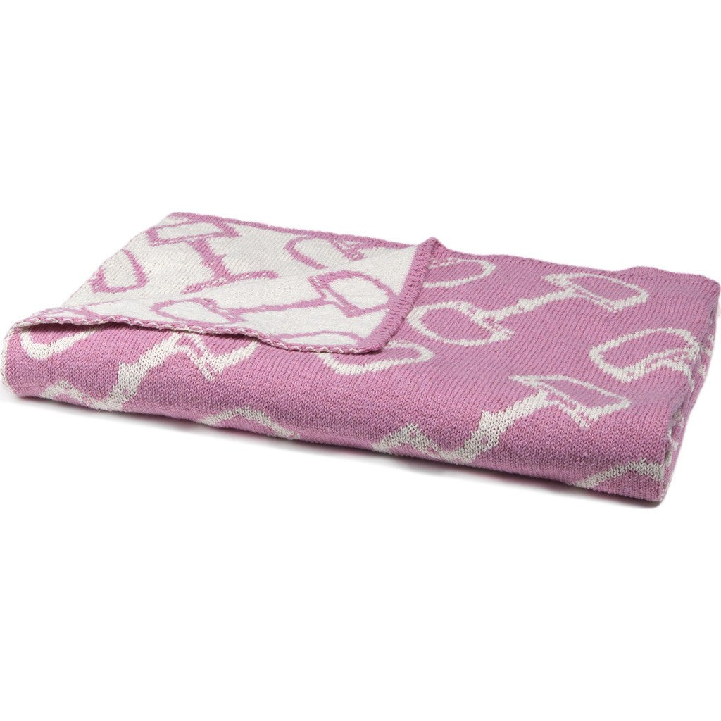 in2green Baby Horse Bits Reversible Eco Throw | Petal Pink BB02HB1