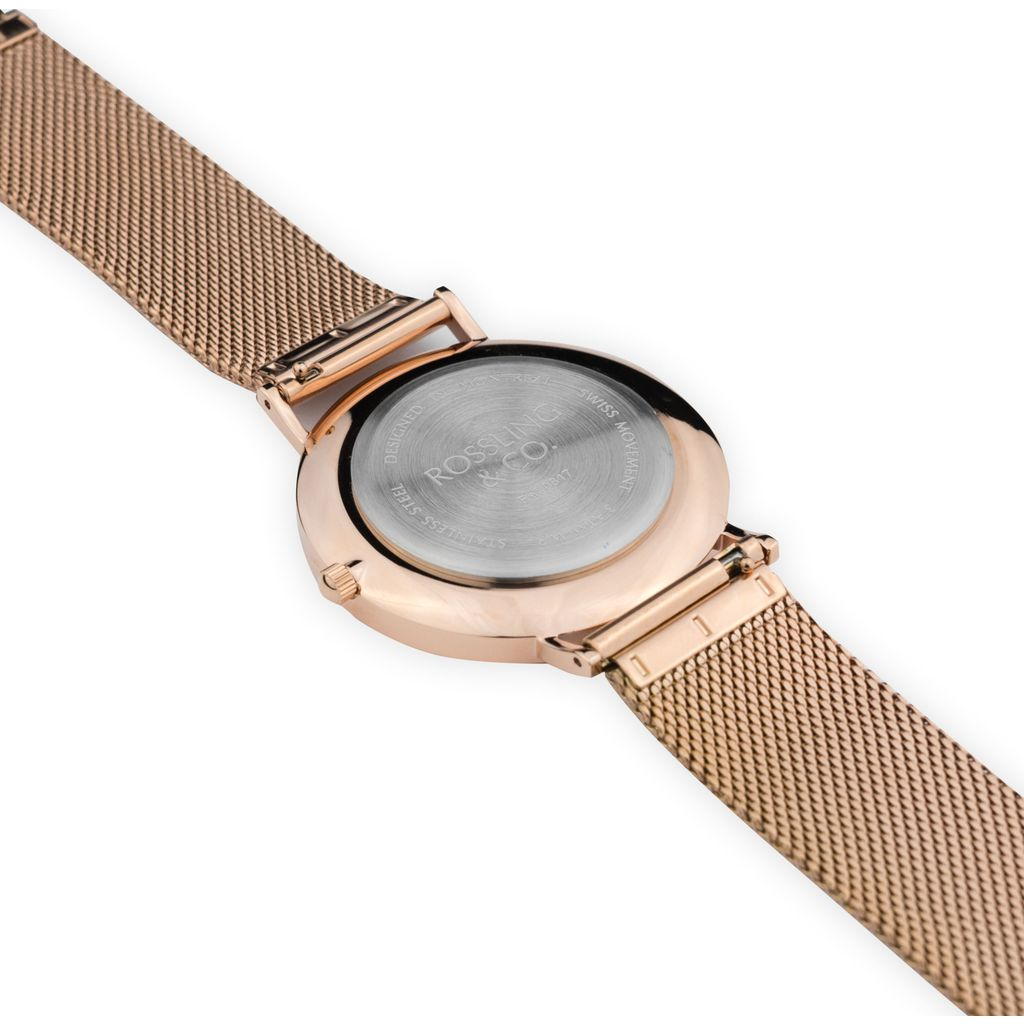 Rossling & Co. Classic 40mm Mesh Stainless Steel Watch | Rose Gold/Black/Rose Gold- RO-001-029