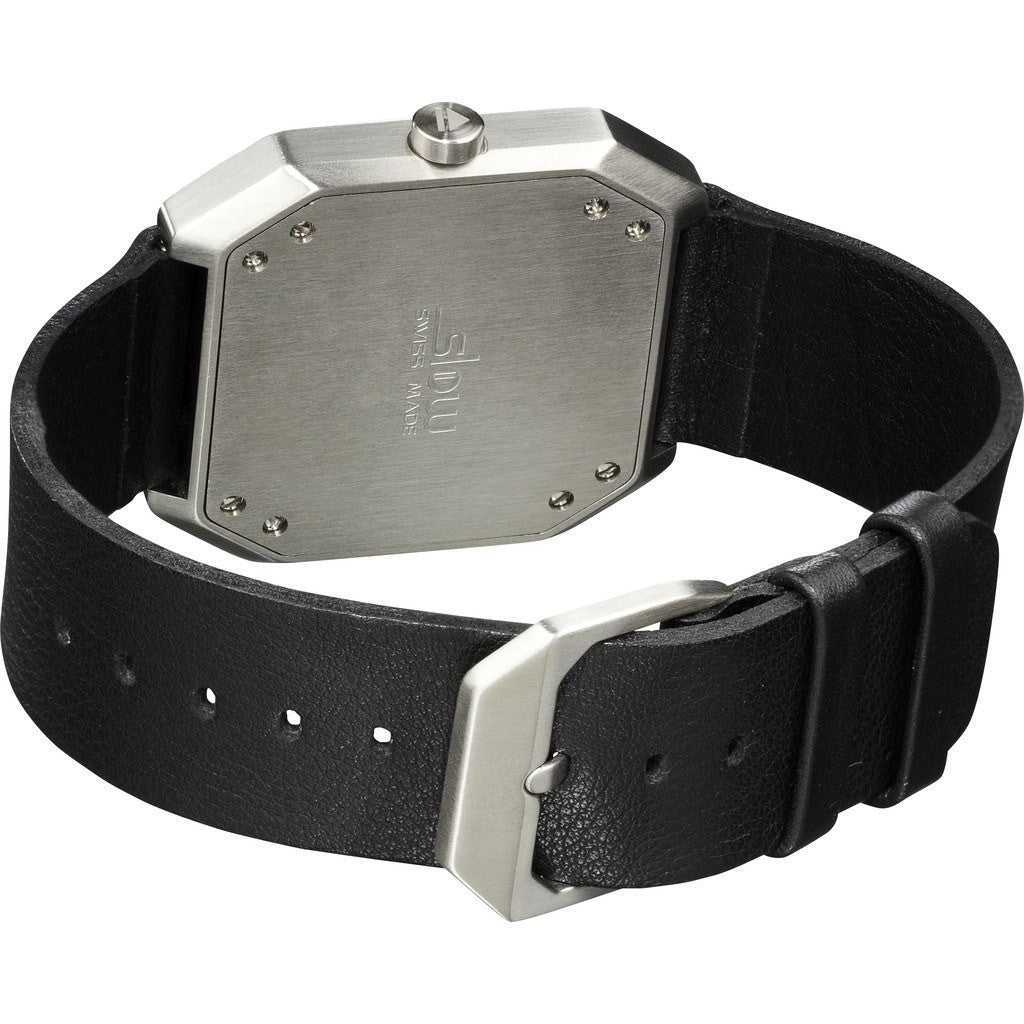 slow Jo 05 Silver Watch | Black Leather X000FGLSF1