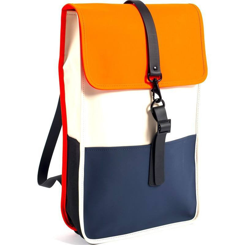 RAINS Waterproof Backpack | Sand/Orange/Blue