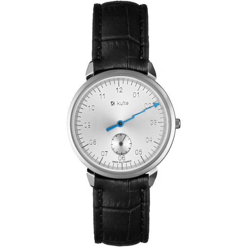 Kulte Baine de Minuit Silver Watch | Black Leather KCOLA