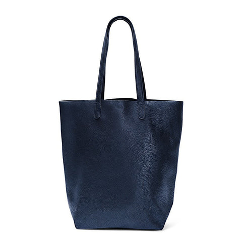 Baggu Basic Leather Tote Bag | Navy