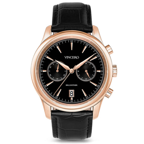 Vincero Men's Bellwether Chronograph Rose Gold Watch | Black Leather Strap Bla-Rg-W20