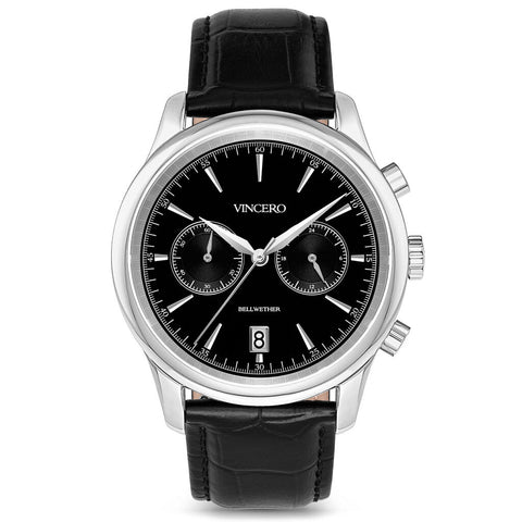 Vincero Men's Bellwether Chronograph Silver Watch | Black Leather Strap Bla-Sil-W21